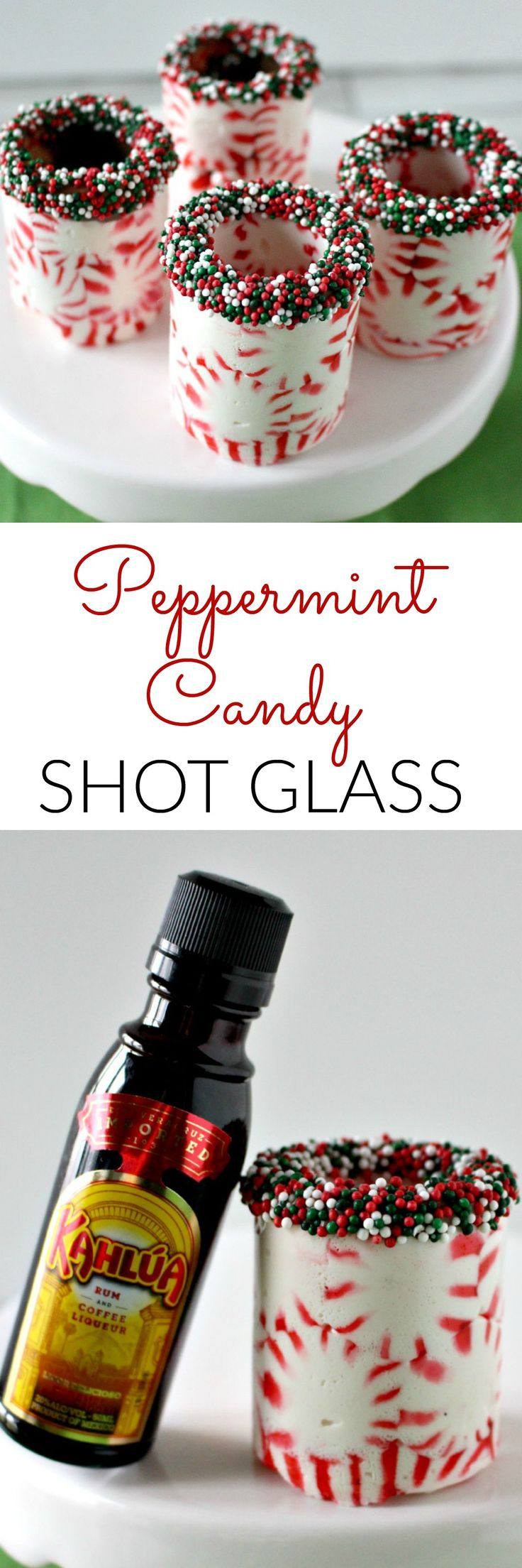 Peppermint Candy Shot Glasses - The perfect DIY gift. Great as a shot glass or an edible cup for a cute mini dessert!
