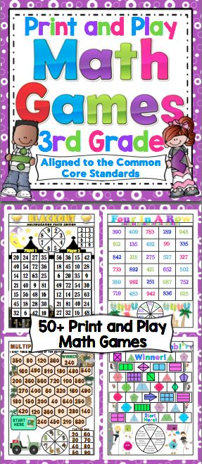 Math Games and Centers: 3rd Grade Print and Play (No Prep) Make math class something to look forward to with these super fun math games! This set of 50+ games are aligned to the Common Core Standards. The games are all 1 page, with a spinner on the page. All you need to do is print and play! $