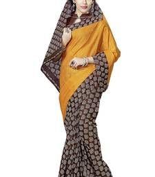 Buy Yellow and Brown printed cotton saree cotton-saree online