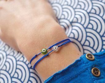evil eye string bracelet / neon pink string bracelet / evil