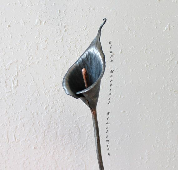 Calla Lily Handmade Forged Iron Steel Metal by toughandtwisted