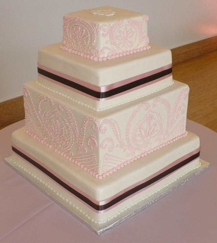 Tiered, square wedding cake (#Fenoglietto's Wedding Cakes and Honeymoon Travel)