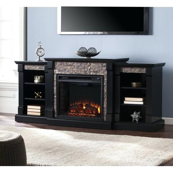 Copper Grove Hay River Black Faux Stone Electric Fireplace With