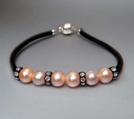 Light Pink Freshwater Pearls Bracelet Swarovski by LeelaBijou, $35.00
