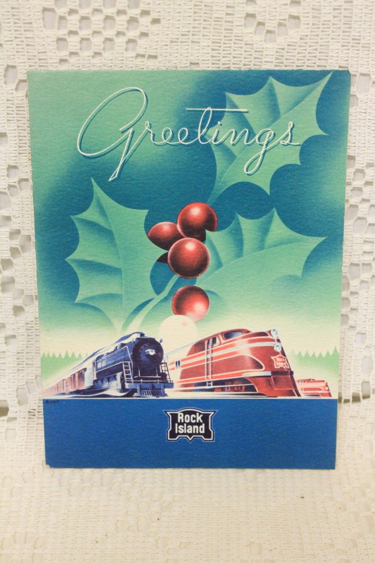 "Vintage Rock Island Railroad Company 1939 ""Greetings"" Train Christmas Card | eBay"