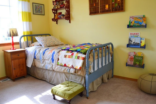 room: Books Racks, Yellow Wall, Kid Rooms, Yellow Kids Rooms, Beds Frames, Jenny Lind Beds, Little Boys Rooms, Big Boy Rooms, Big Boys Rooms