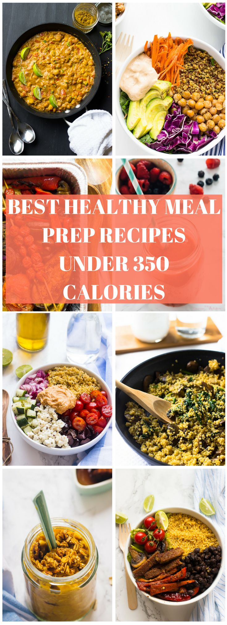 Our best clean eating Healthy Meal Prep Recipes Under 350 Calories to get your through the week, plus meal prep and meal planning 101 tips! All vegetarian! via jessicainthekitchen,com