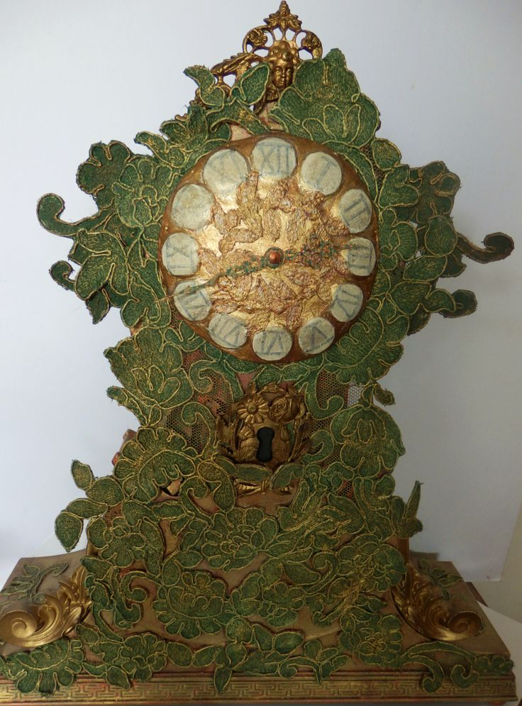 Textile Art, Textile sculpture, Upcycled 'Violin Clock', by Corinne Young