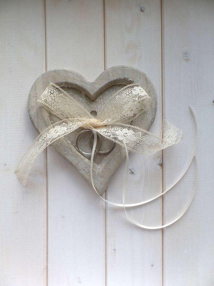 Shabby Chic Herz aus Holz, als Ringkissen Alternative mit ...