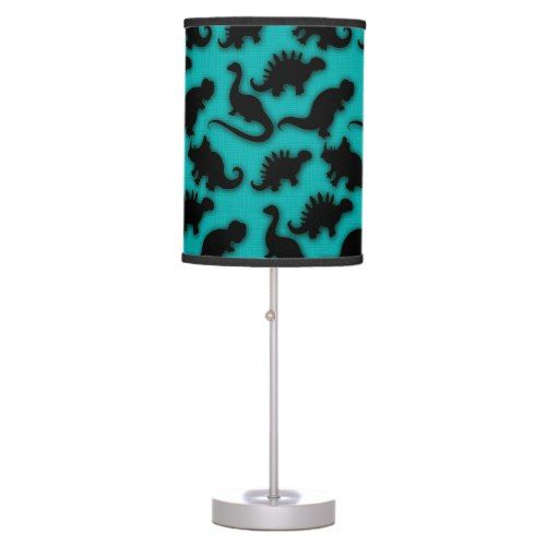 Cute Dinosaurs Pattern Black and Teal Table Lamp