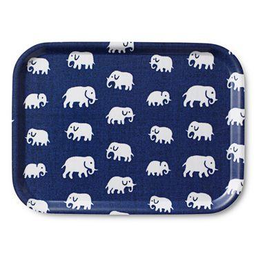 Bricka Rektangulär Blå Elefant