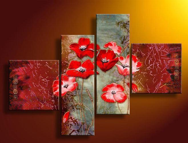 Cuadros Abstractos Tripticos Dipticos Flores Modernas Oleos