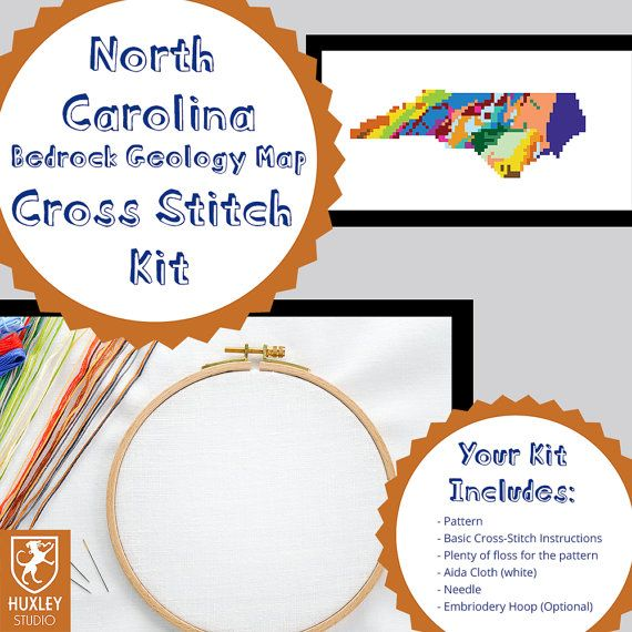 KIT North Carolina Cross Stitch Kit DIY  North by HuxleyStudio