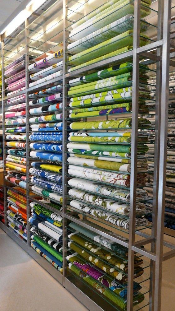 Fabric selection at Marimekko Helsinki store