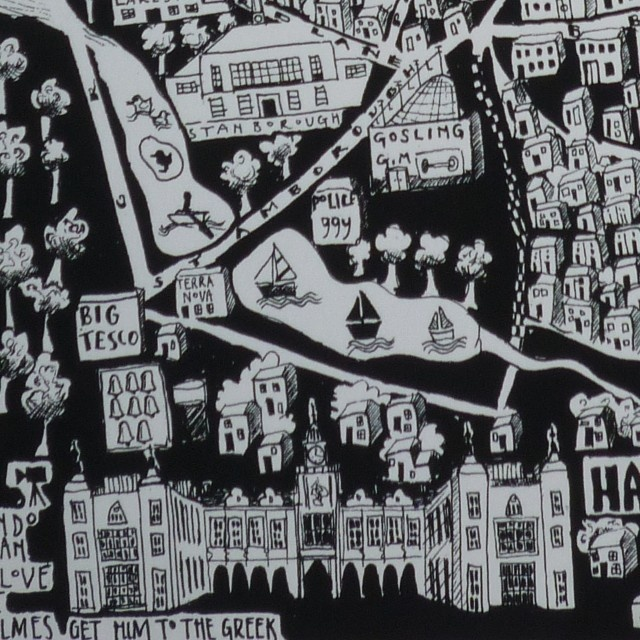 Caroline Harper. Hand-drawn maps | Details of Welwyn Garden City