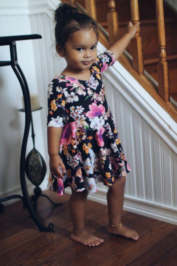 Wild flower print dress for toddler girl, toddler girl flower dress, fall dress for toddlers, thanksgiving dress for fall outfit, fall dress