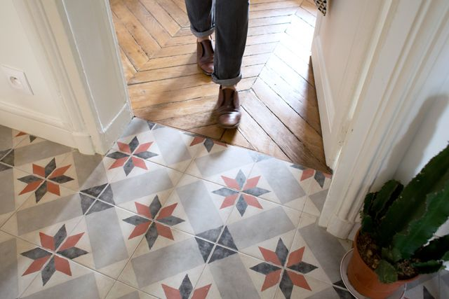 floor tiles and wooden parquet