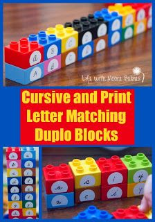 Cursive and Print Letter Matching Duplo Blocks from Life with Moore Babies