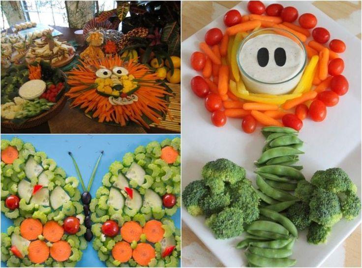 idées repas santé et amusant: lion, papillon et fleur de légumes