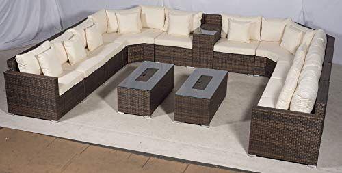Set Giardino In Polyrattan.Giardino Santorini Large 10 Seater Brown Rattan Sofa Set With 2