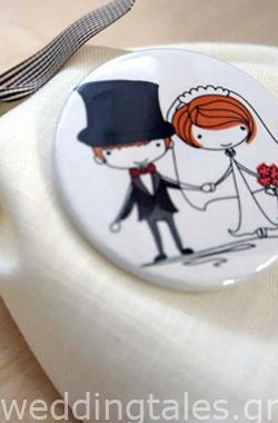 A trendy wedding guest favor with a personalized button!!!