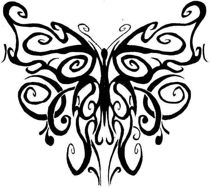 tribal butterfly drawings - 675×600