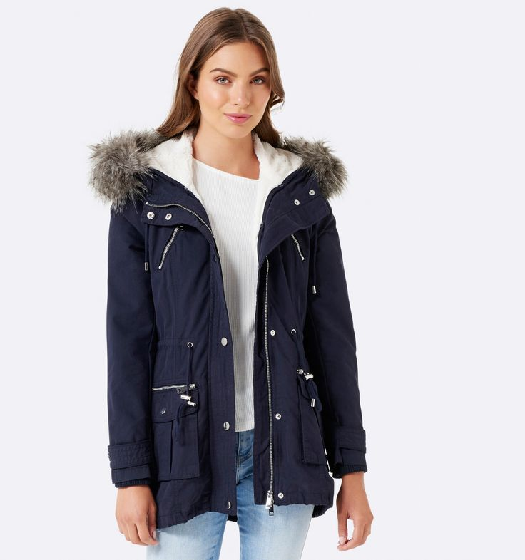 Riley Faux Fur Parka Jacket Navy (removable trim and lining) - Womens Fashion   Forever New $159.99
