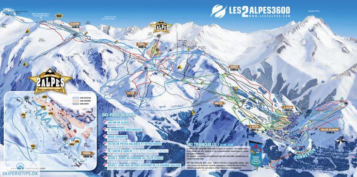 Les 2 Alpes Piste Map (High resolution / .JPEG) #lesdeuxalpes #les2alpes #skiing #france