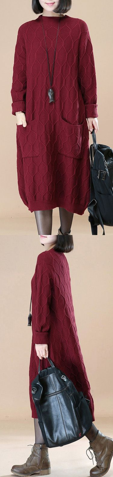 burgundy sweater dress Loose fitting pullover sweater boutique sweater