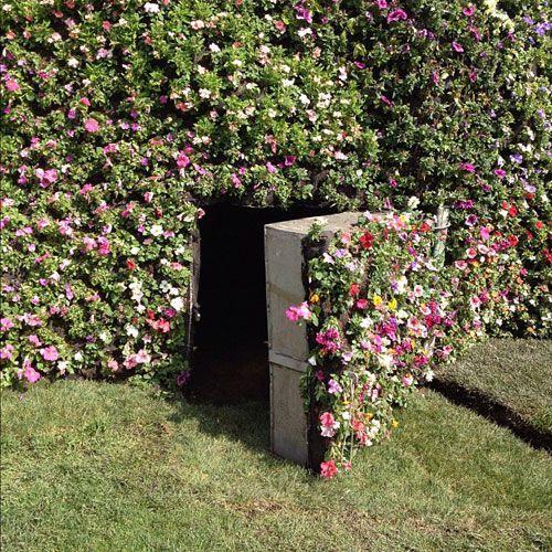Porte secrète dans une haie de jardin