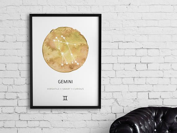 Gemini Constellation Poster, Gemini Constellation Watercolor, Nursery Art Print, Gemini Print, Zodiac Constellation Poster, Astrology Art Welcome to SunbeamPrints! Gemini Date Range: May 21 - June 20 INSTANT DOWNLOAD This print will become automatically available for you to download