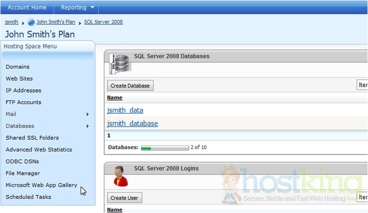 How to create a MS SQL server database in WebsitePanel