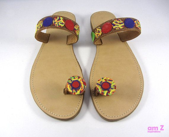 Greek leather sandals  Rainbow sandals  Toe by amZinspirations