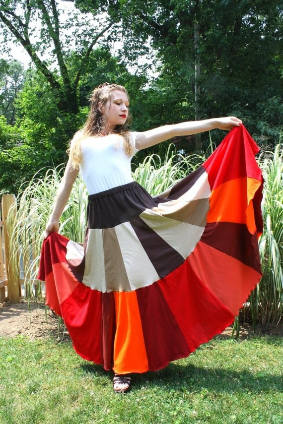 Autumn Fire Dance- Ultimate Long Upcycled T-Shirt Flamenco Skirt by SnugglePants - tees t-shirts t shirts upcycle refashion recycled