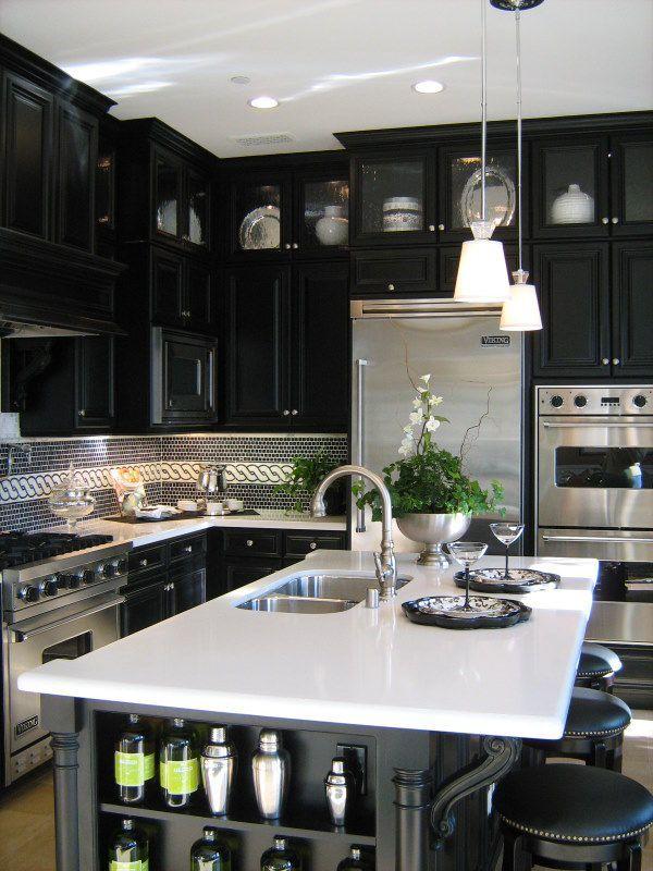 53 Stylish Black Kitchen Designs Narrow Shelves Black