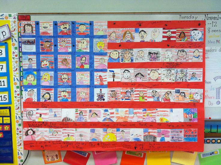 Veterans Day Project - flag made with students' self-portraits