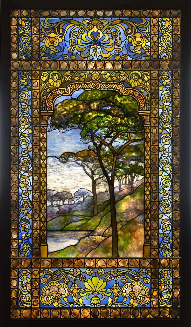 Louis Comfort Tiffany - Landscape window, 1893-1920, leaded glass, pebbles