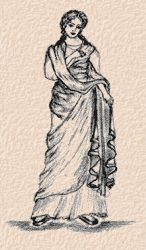 This image shows kind of a combination of a Stola and a Palla.  A stola is a sleeveless overdress often worn by matrons.  A palla is a draped rectangle similar to a toga but smaller.  This image shows a woman wearing a draped, sleeveless, rectangle is being draped over her front.  The dress also shows the wrapping of the fabric around the front.