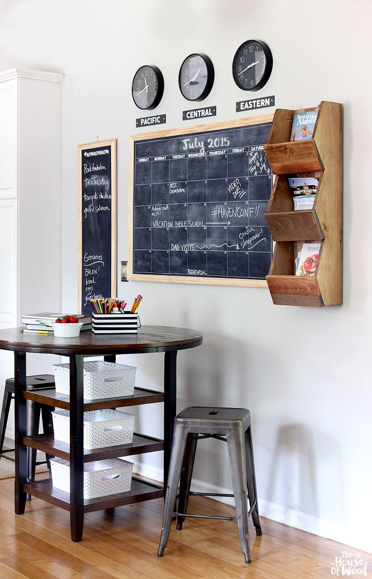 LOVE this family command center! DIY chalkboard calendar, wall cubby, and time zone clocks | The House of Wood