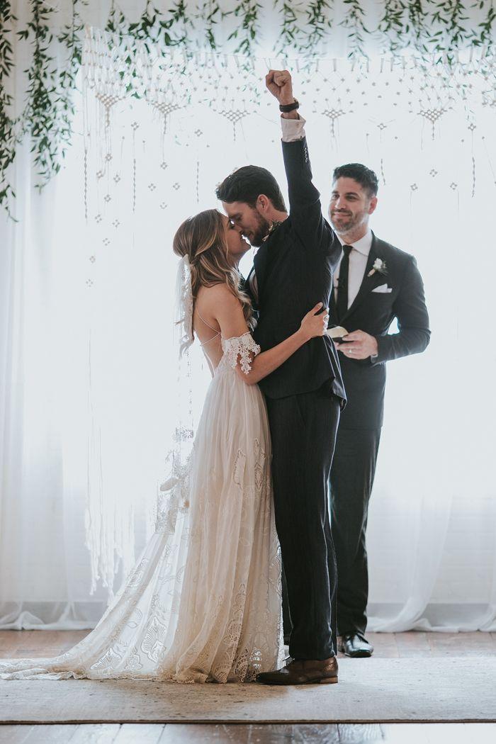 Emotional First Kiss Celebration During This Bohemian Wedding