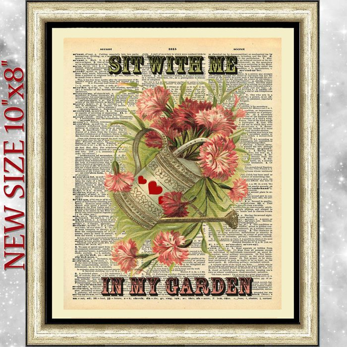 ART DICTIONARY ANTIQUE BOOK PAGE PRINT SIT WITH ME IN MY GARDEN ORIGINAL VINTAGE http://stores.ebay.co.uk/intheframeshop/
