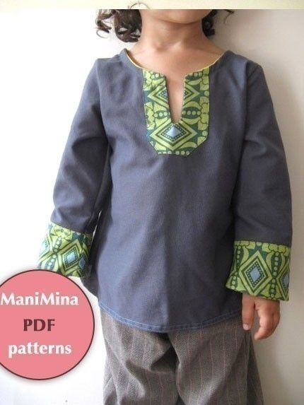 Fall boy/girl tunic 2T to 6T Easy sewing and printing by ManiMina, $5.50
