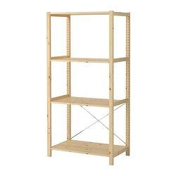 "IVAR 1 section with shelves, pine Depth: 19 5/8 "" Height: 70 1/2 "" Width: 35 "" Depth: 50 cm Height: 179 cm Width: 89 cm  ~~Possibly for the kitchen pantry area"