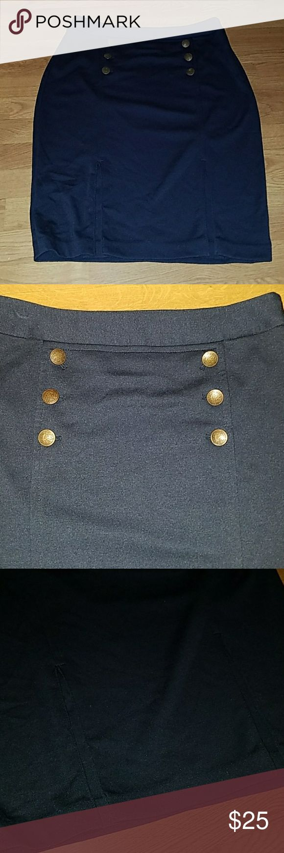 EUC Navy Pencil Skirt with buttons Super cute & comfy navy pencil skirt with mock splits for a little flair. 24.5 in length The Limited Skirts Pencil