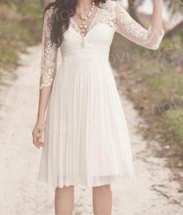 short bridal gown,beach wedding dress ,lace chiffon prom dress,bridesmaid gowns,party dress,white dress