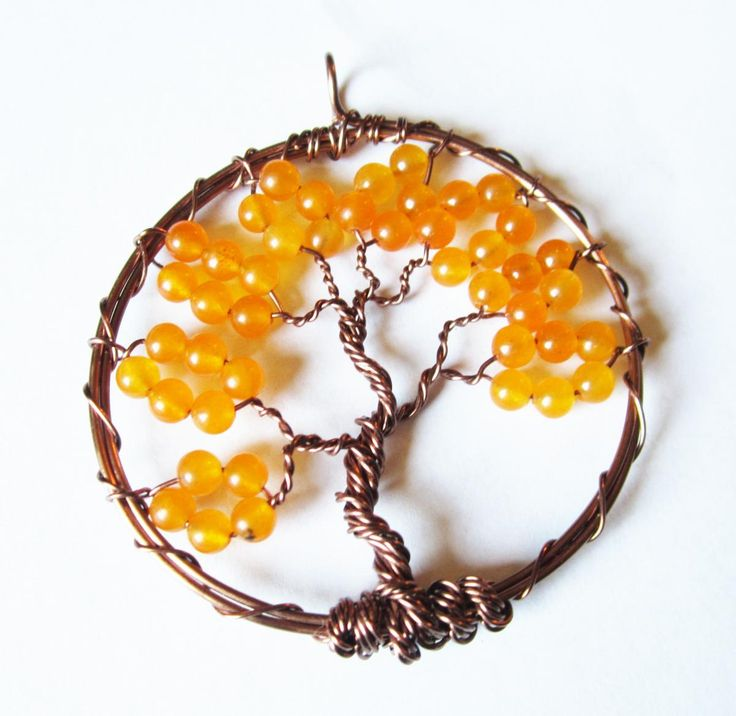 Orange Tree of Life Pendant - Bohemian Jewelry