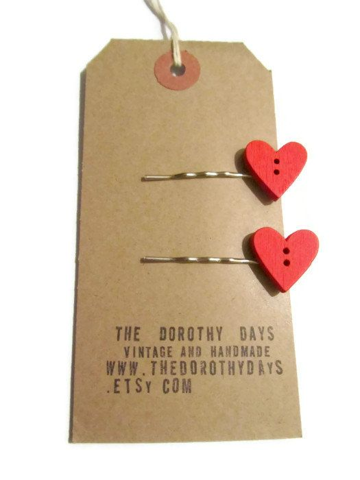 Two red love heart hair slides by The Dorothy Days on silver tone slides- rustic style - wooden button bobby pin kirby grips - etsy uk on Etsy, £5.00