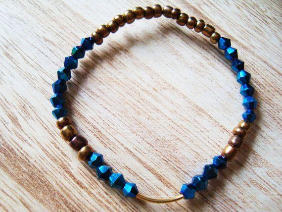 Seeds beads bracelet navy blue crystal bronze sand by BiancasArt