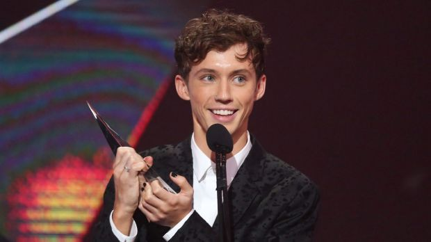 Gay celebrities have a platform - they should use it. Troye Sivan accepts an ARIA for Best Video during the 30th Annual ARIA Awards last week.