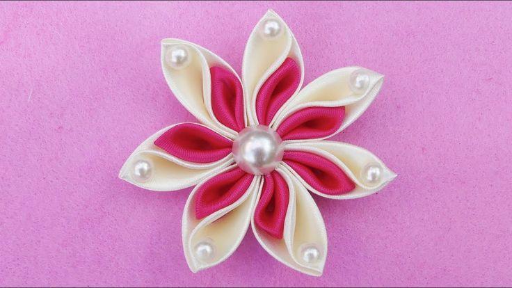 DIY Ribbon Flower I How To Make Kanzashi Ribbon Flower I Flower Hair Cli...